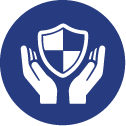 Two hands holding a shield representing insurance protection